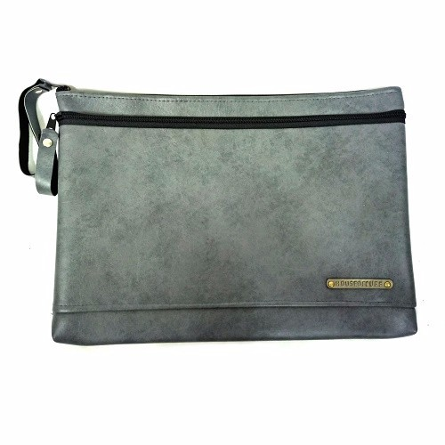 MEDIUM DUAL ZIP GREY CLUTCH