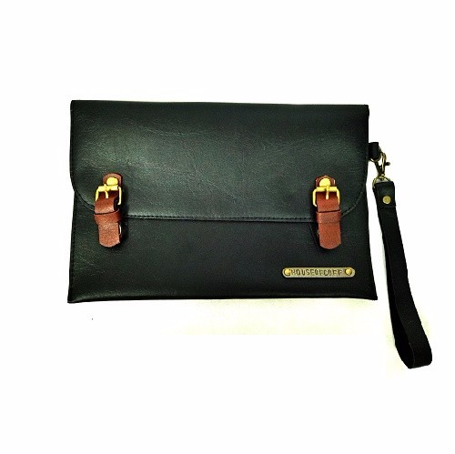 SMALL DUAL LOCK BLACK CLUTCH