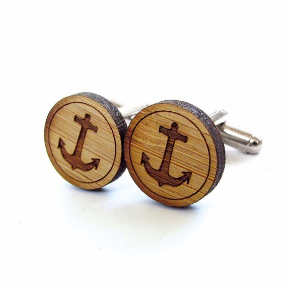 WOOD LASER ENGRAVABLE CUSTOM CUFFLINKS