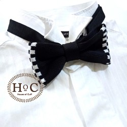 BLACK WHITE SQUARE KNIT BOW TIE