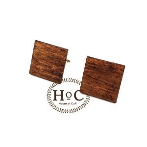 SQUARE WOOD DARK CUFFLINKS